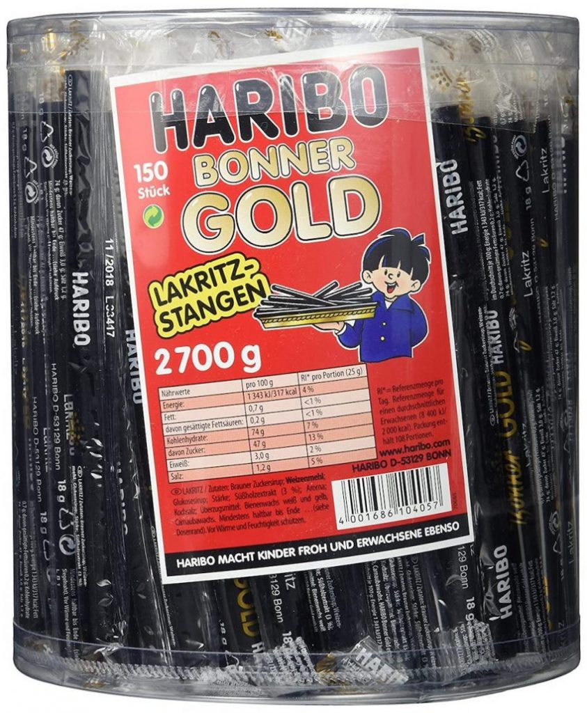 Haribo Bonner Gold Lakritzstangen 150 Stück 2700G