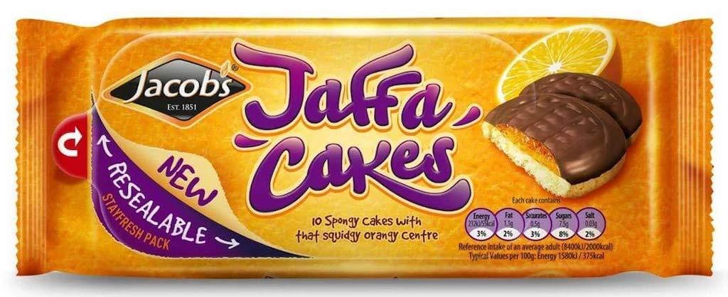 Jacob's Jaffa Cakes 10 Sponge Cakes with orange center Öffnungslasche auf Vorderseite