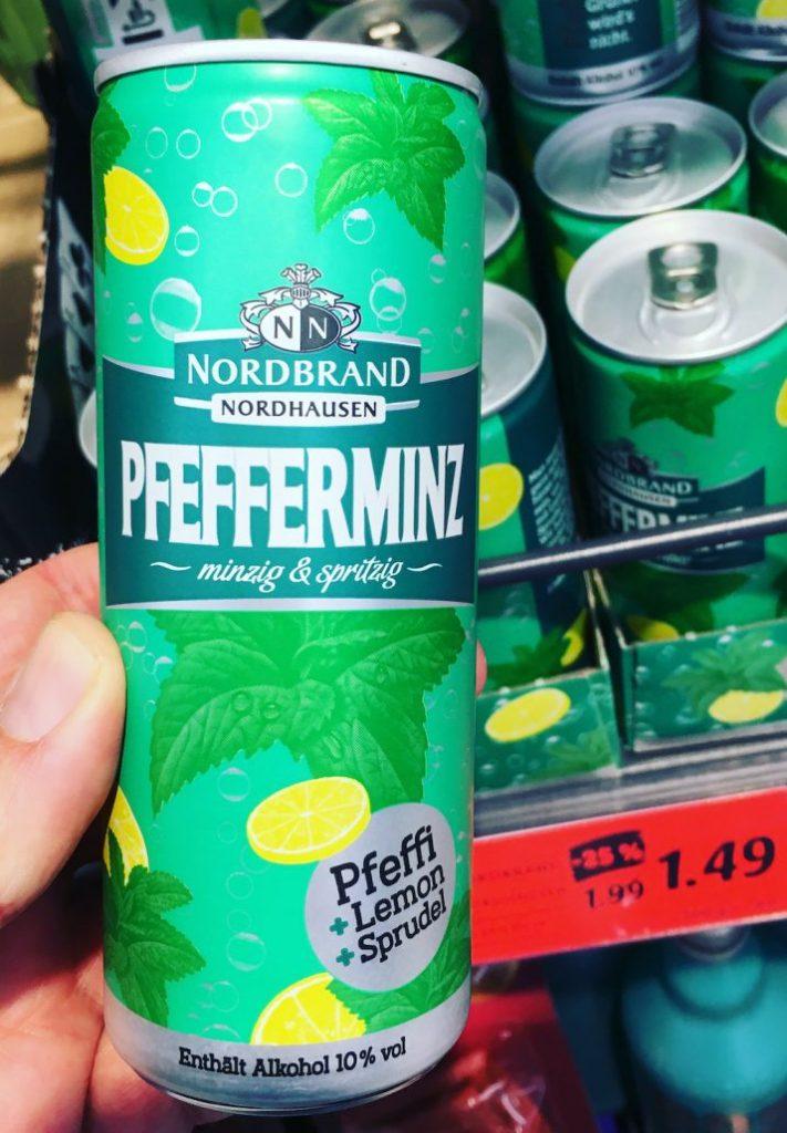 Nordbrand Nordhausen Pfefferminz minzig+spritzig Pfeffi+Lemon+Sprudel Dose