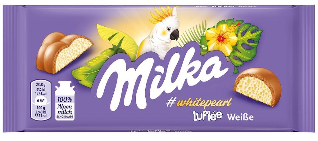 Milka Luflée Weisse Schokolade Whitepearl Papagei 95g