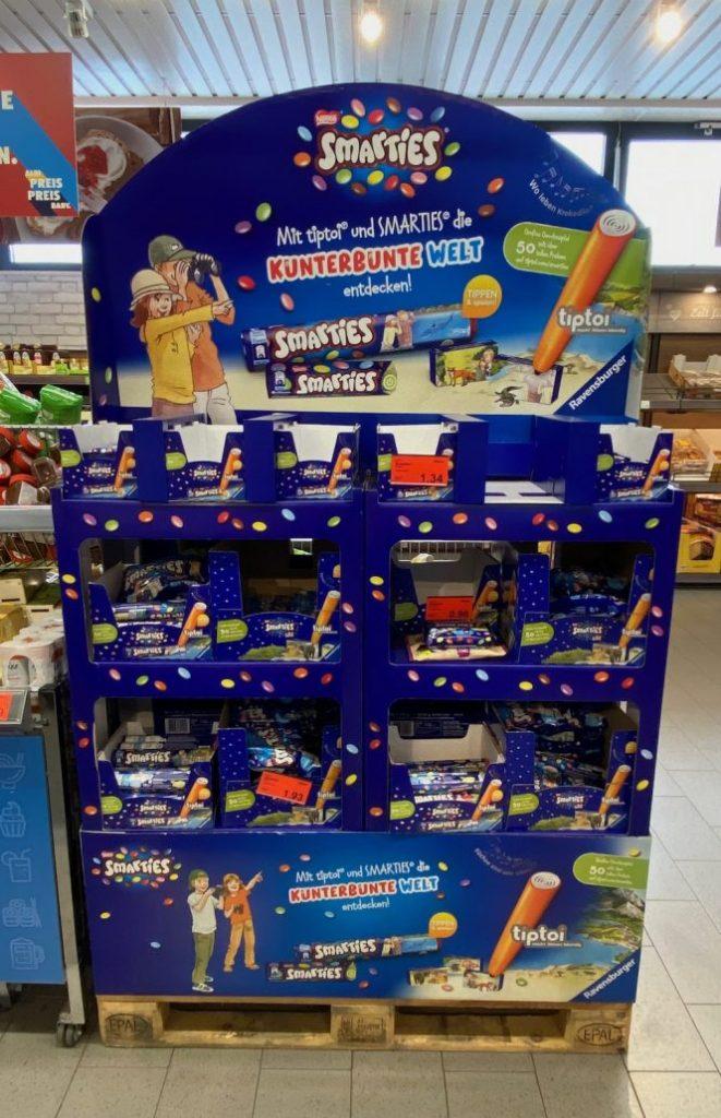 Nestlé Smarties Bodenaufsteller Europalette Kunterbunte Welt mit tiptoi und Smarties