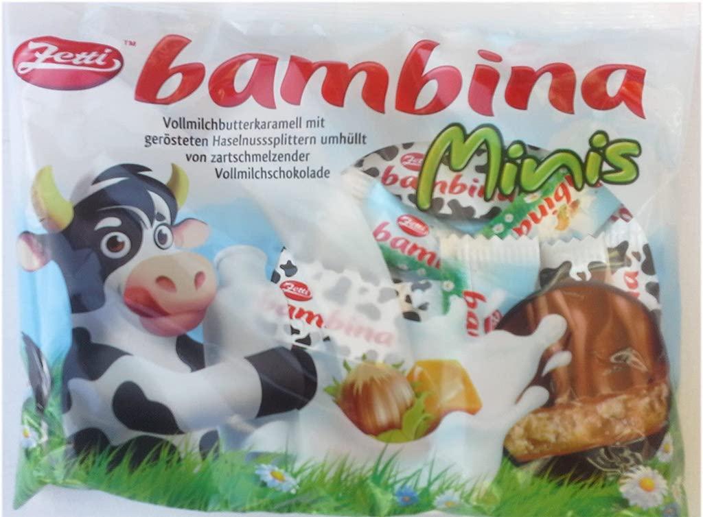 Zetti bambinaMinis Vollmilchbutterkaramell mit gerösteten Haselnusssplittern umhüllt von Vollmilchschokolade