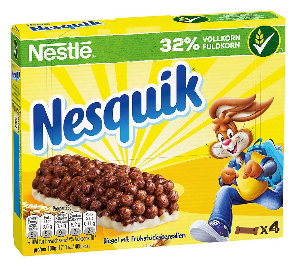 Nestlé Nesquik Riegel mitFrühstückscerealien 32% Vollkorn 4er