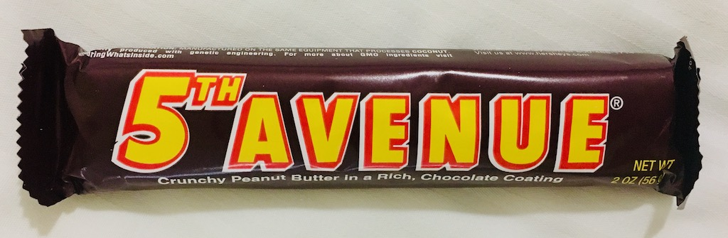 5th Avenue Crunchy Peanut Butter in a rich chocolate Coating 56G
