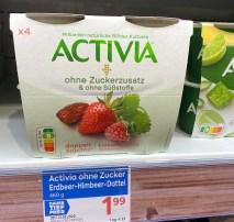 Danone Activia ohne Zuckerzusatz und ohne Süßstoffe doppelt Früchte Nutri-Score 4er Erdbeere-Dattel-Himbeere