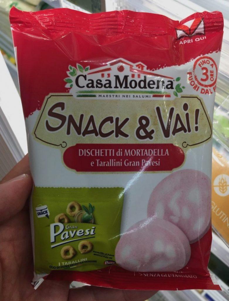 CasaModena Snack+Vai Gran Pavesi mit Mortadella Pausensnack Italien