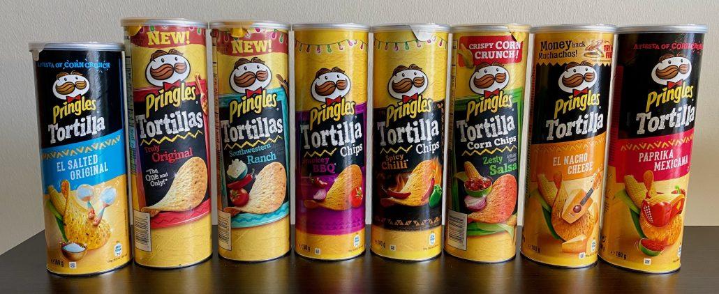 Pringles Tortilla El Salted Original-Truly Original-Southwestern Ranch-Smokey BBQ-Spicy Chilli-Zesty Salsa-El Nacho Cheese-Paprika Mexicana