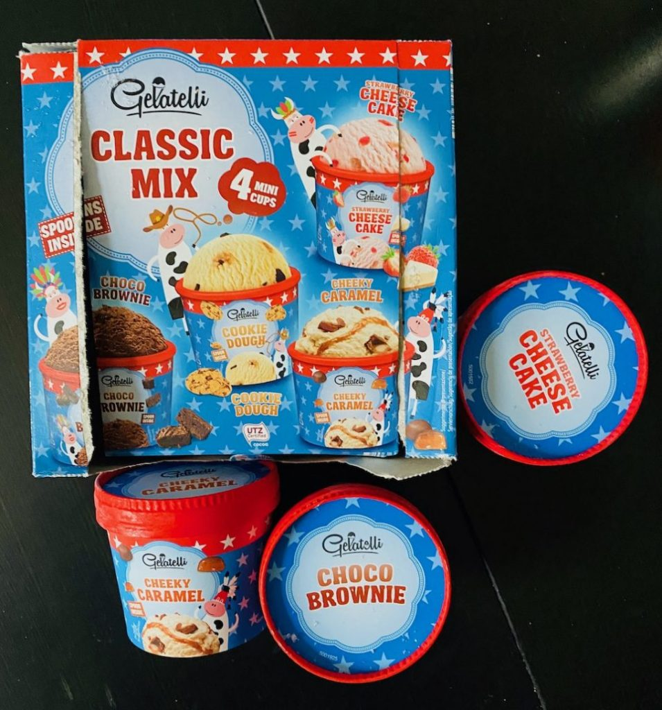 Lidl Gelatelli Classic Mix 4 Mini Cups Choco Brownie-Cookie Dough-Strawberry Cheesecake-Cheeky Caramel