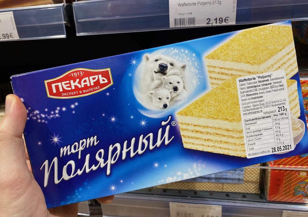 Russische Waffeltorte Poljamij Eisbärenmotiv