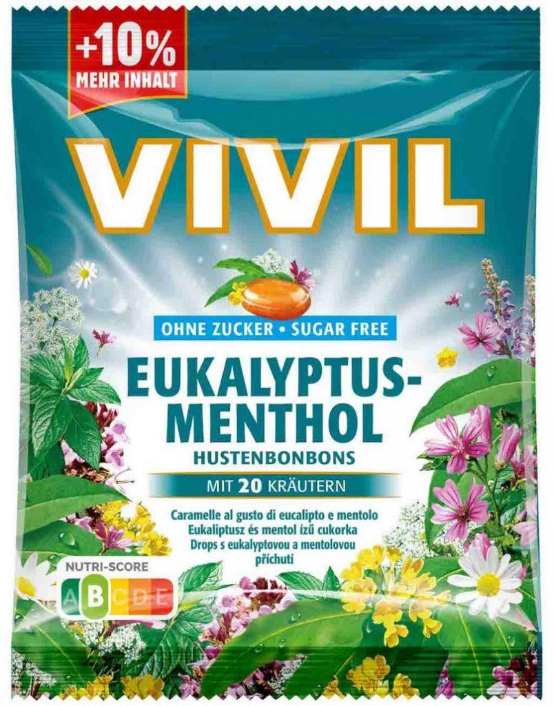 Vivil Hustenbonbons Eukalyptus Menthol ohne Zucker 88g