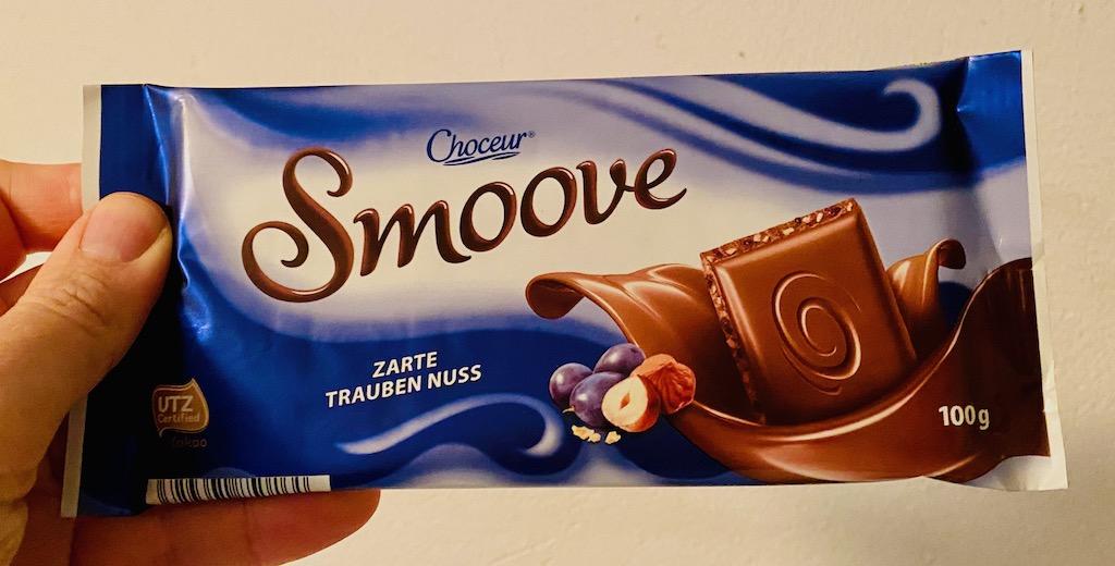 Aldi Choceur Smoove Zarte Traueben-Nuss-Schokolade 100G