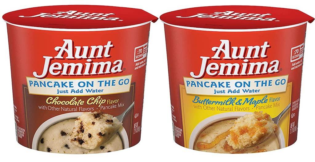 Aunt Jemima Pancake on the Go Chocolate Chp und Buttermilk+Maple Pfannkuchenmischung Tassenkuchen