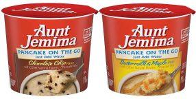 Aunt Jemima Pancake on the Go Chocolate Chip und Buttermilk+Maple Pfannkuchenmischung Tassenkuchen
