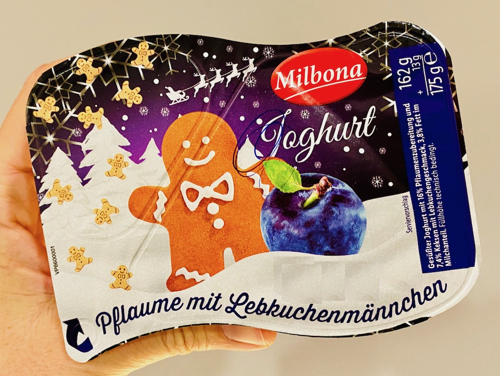 Lidl Milbona Joghurt Pflaume mit Lebkuchenmännchen 175G