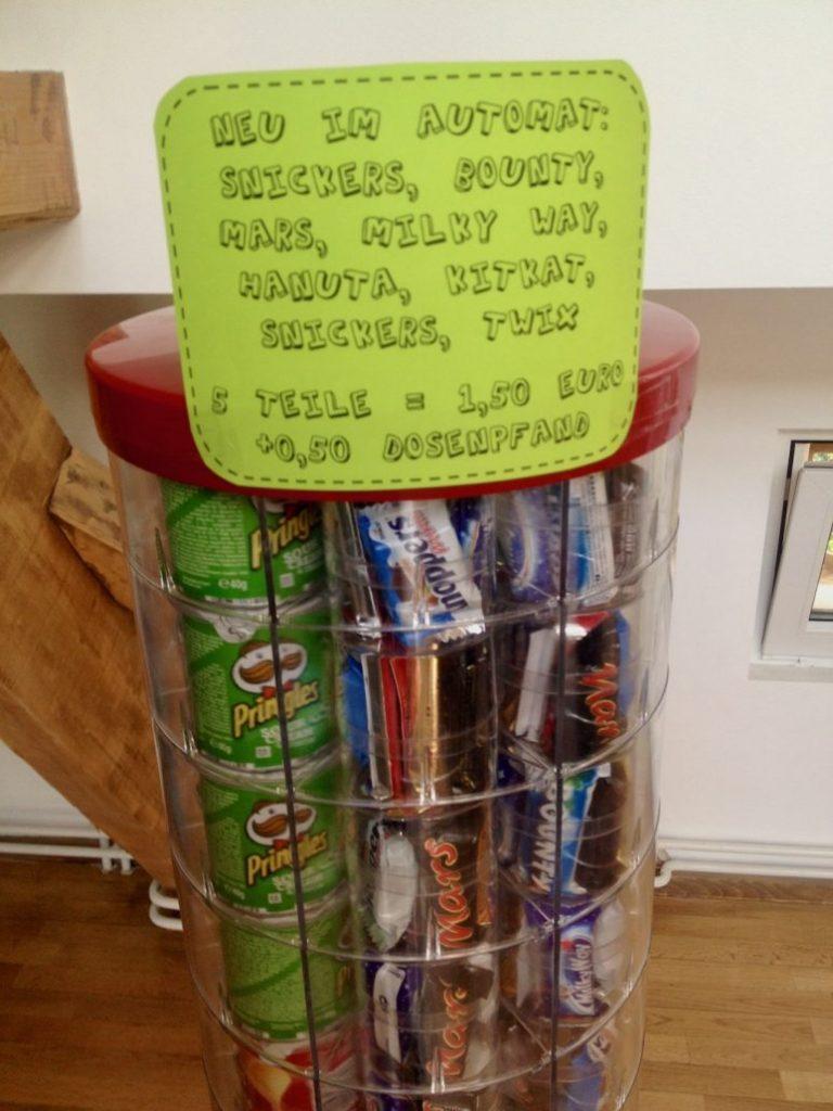 Pringles-Automat Schild Neu im Automaat Snickers-Bounty-Mars-Milky Way-Hanuta-Kitkat-Twix – 5 Teile 1-50 Euro