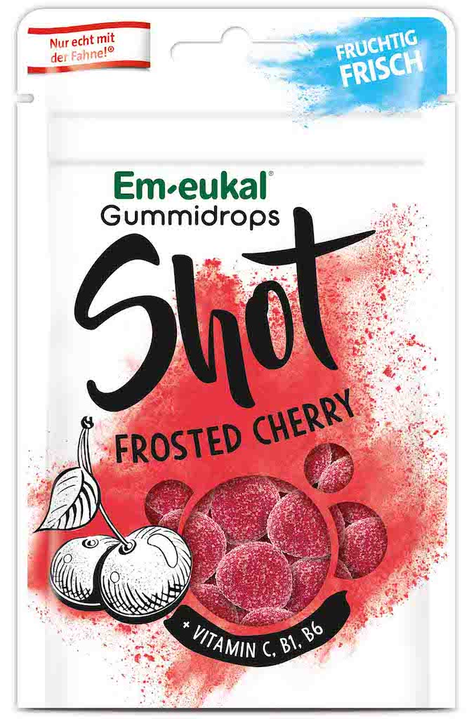Em-eukal Gummidrops Shot Frosted Cherry 65g
