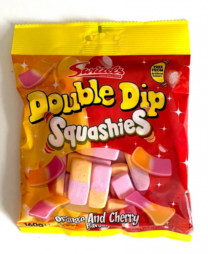 Swizzels Double Dip Squaschies Orange and Cherry 160G