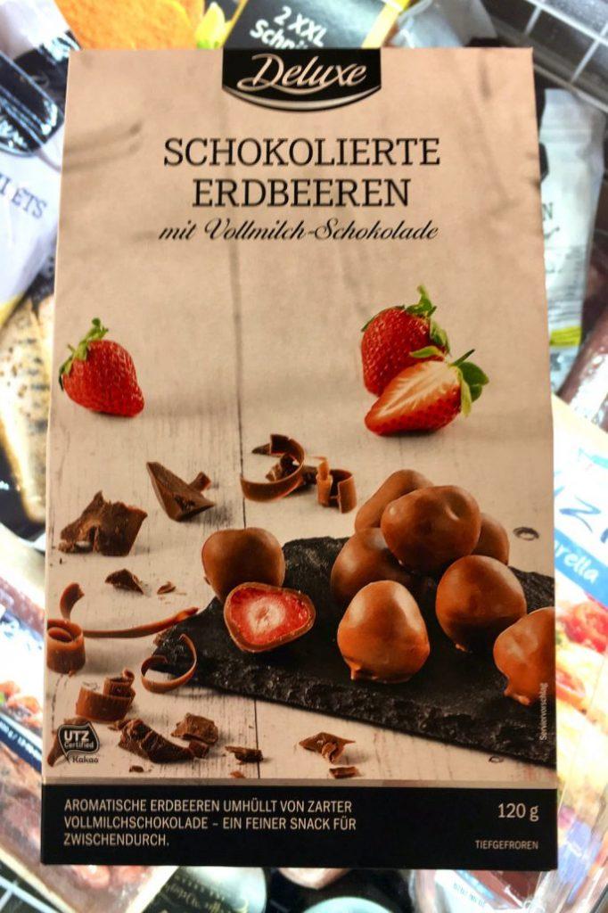 Lidl Deluxe Schokolierte Erdbeeren mit Vollmilch-Schokolade 120G