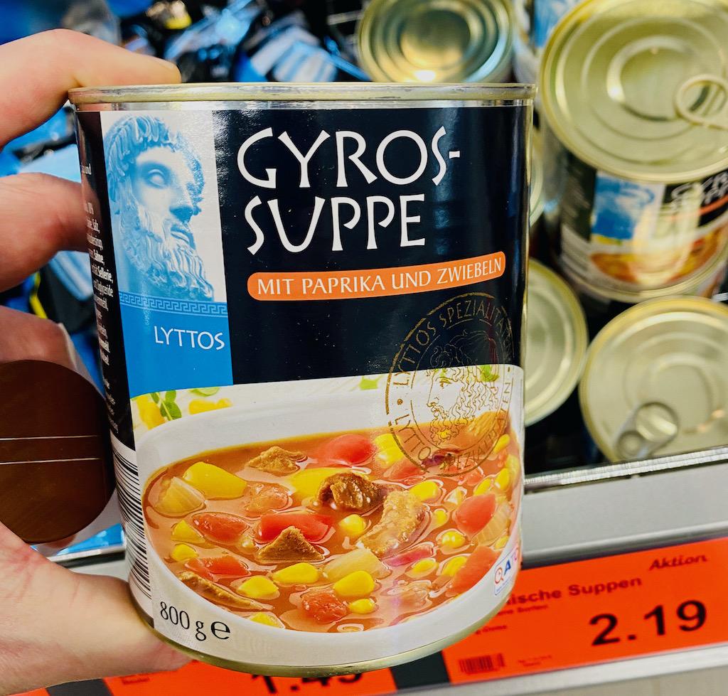 Aldi Lyttos Gyros-Suppe mit Paprika und Zweibeln 800G Dosengericht