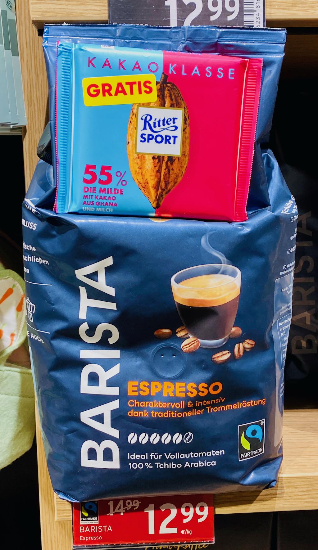 Tchibo Barista Espresso mit Ritter Sport Kakaoklasse Bündel