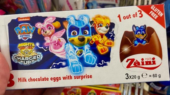 Zaini Nickelodeon Paw Patrol Überraschungseier mit Schokolade 3x20G