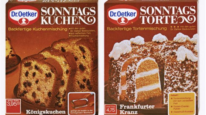 Kuchenbackmischungen von Dr. Oetker 1971