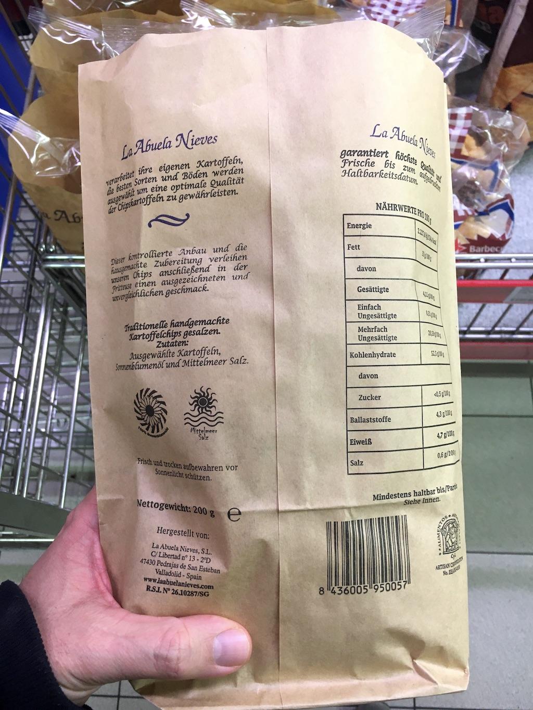 La Abuela Nieves Kartoffelchips in der Papiertüte 200G
