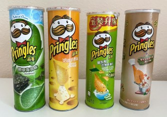 Pringles Asien Seaweed-Cheesy-Cheese-Sour Cream+Onion-Champignions