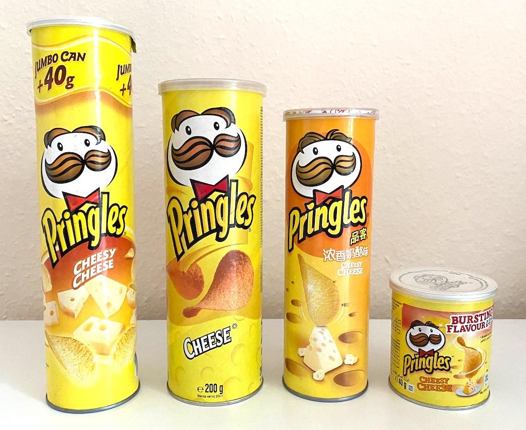 Pringles Cheese Gelb verschiedene Größen