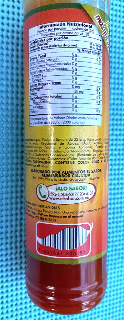 Salsa de Aji Scharfe Sauce mit Chili als Strichcode Barcode