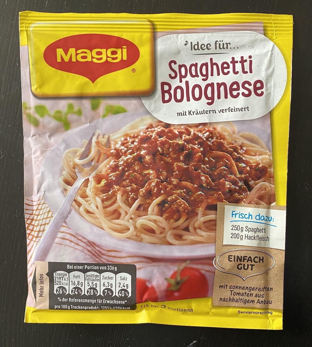 Nestle Maggie Spaghetti Bolognese Gewürztütchen vorn