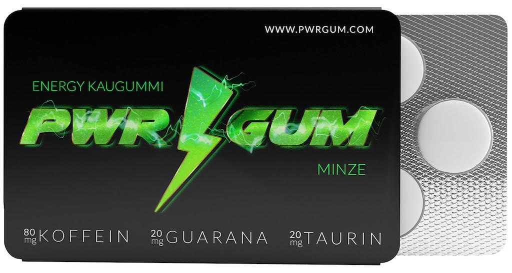 PW gum Energy Kaugummi Minze Koffein-Guarana-Taurin 7er