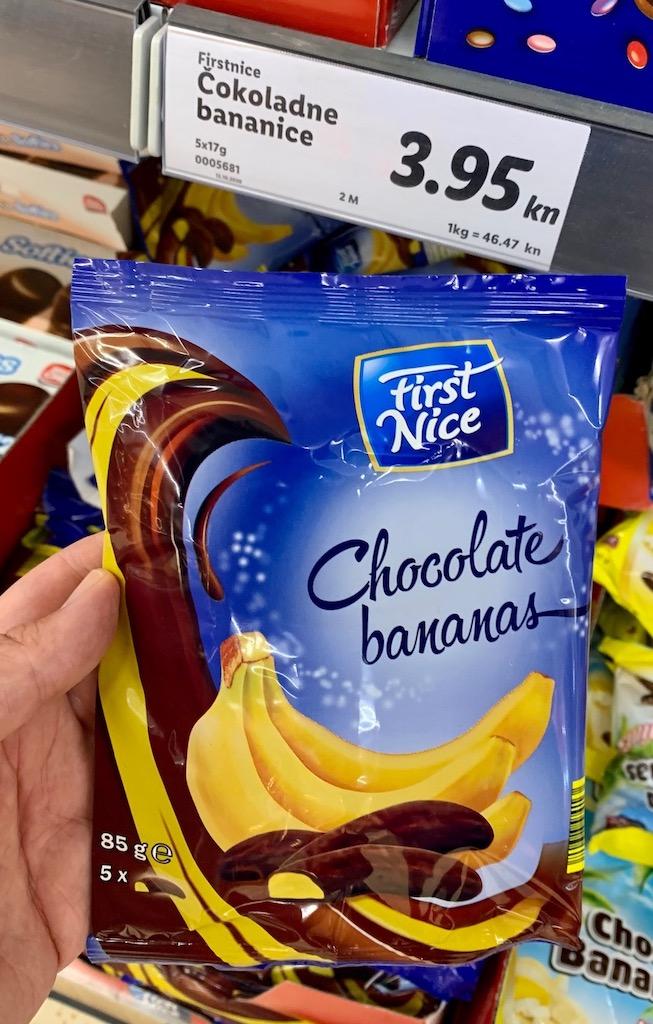Lidl First Nice Chocolate bananas KroationE einzeln verpackt 85G