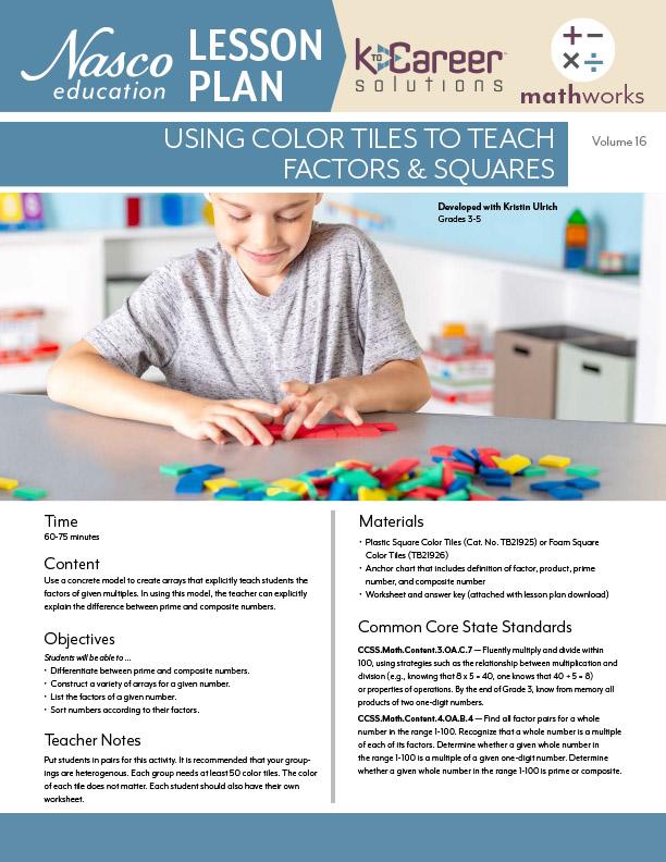 Download the Using Color Tiles to Teach Factors & Squares Lesson Plan now