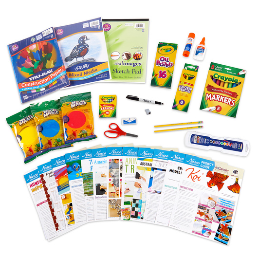 Support your art program with ESSER funds by purchasing the Nasco Elementary Student Art Kit with 12 project guides