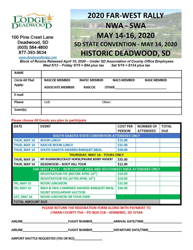 Page 1 of the Far West Rally Registration form