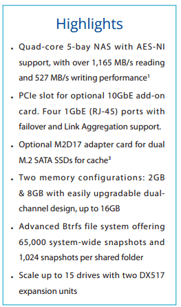 DS1517+ SPECS AND HARDWARE LIST SUMMARY