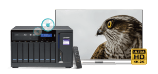 The Optical Media Optimised QNAP TVS-882BRT3 NAS is also a disc player