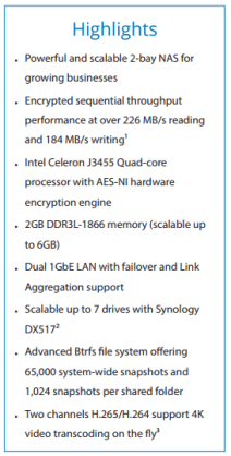 The Synology DS718+ 2-Bay Power NAS for 201718 Release Summary of Spec