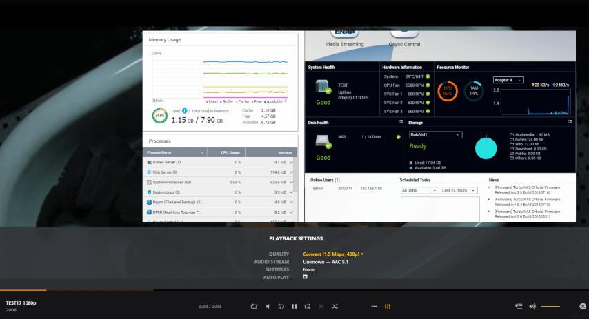 QNAP TS-1635AX NAS PLEX Media Server Transcode 720P, 1080p