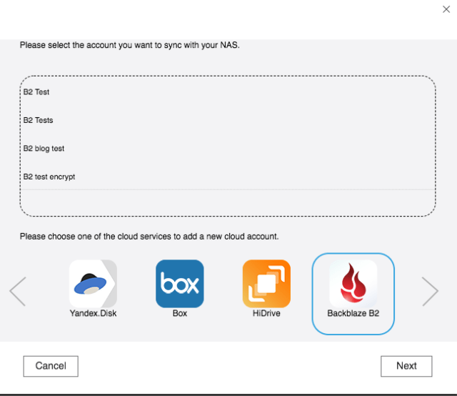 QNAP Hybrid Backup Sync -- Select Account