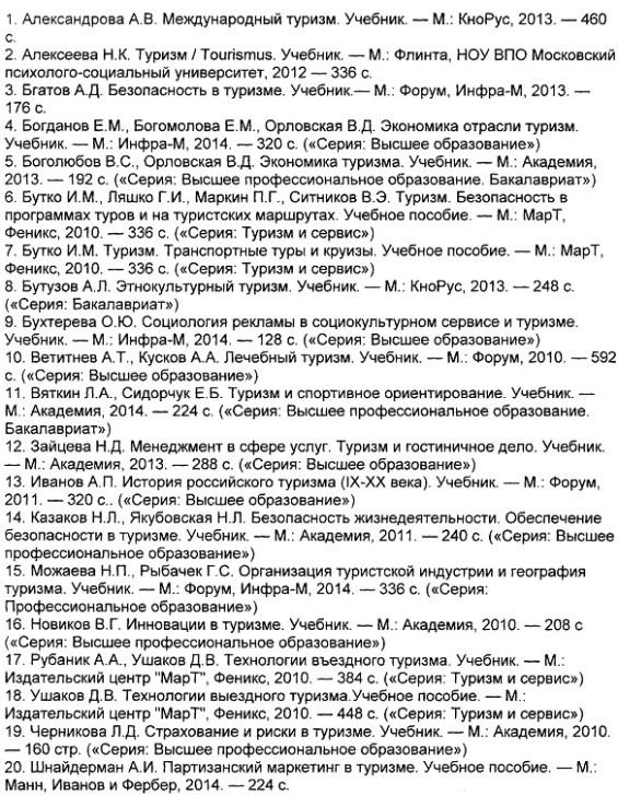 Список литературы 2013 по туризму