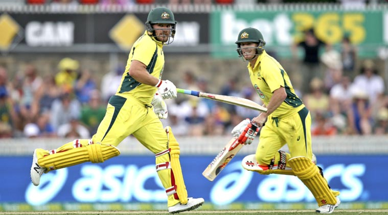 Aaron Finch and David Warner stitched together a 187-run opening partnership for Australia. (Source: AP)