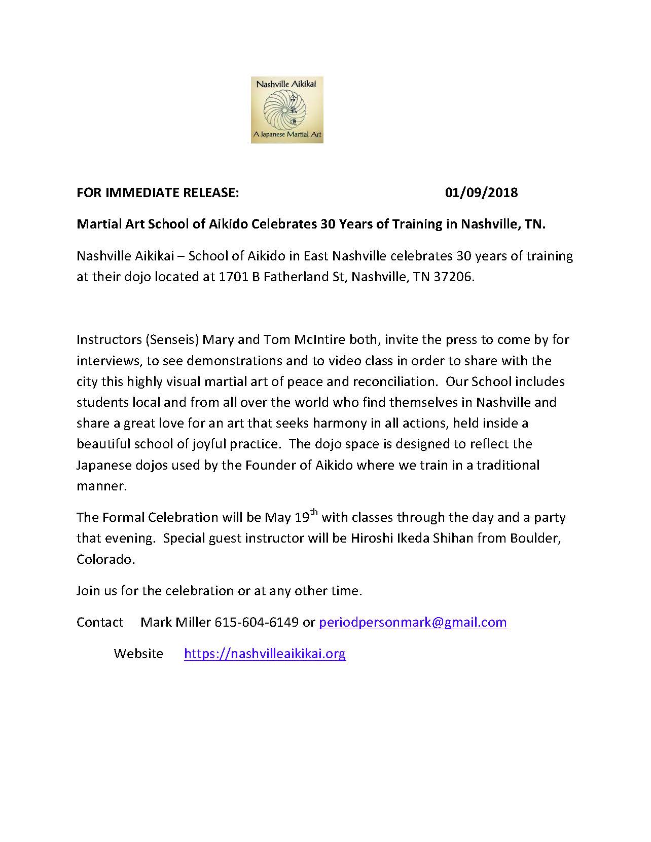 NashvilleAikikaiPressRelease30Years[1]
