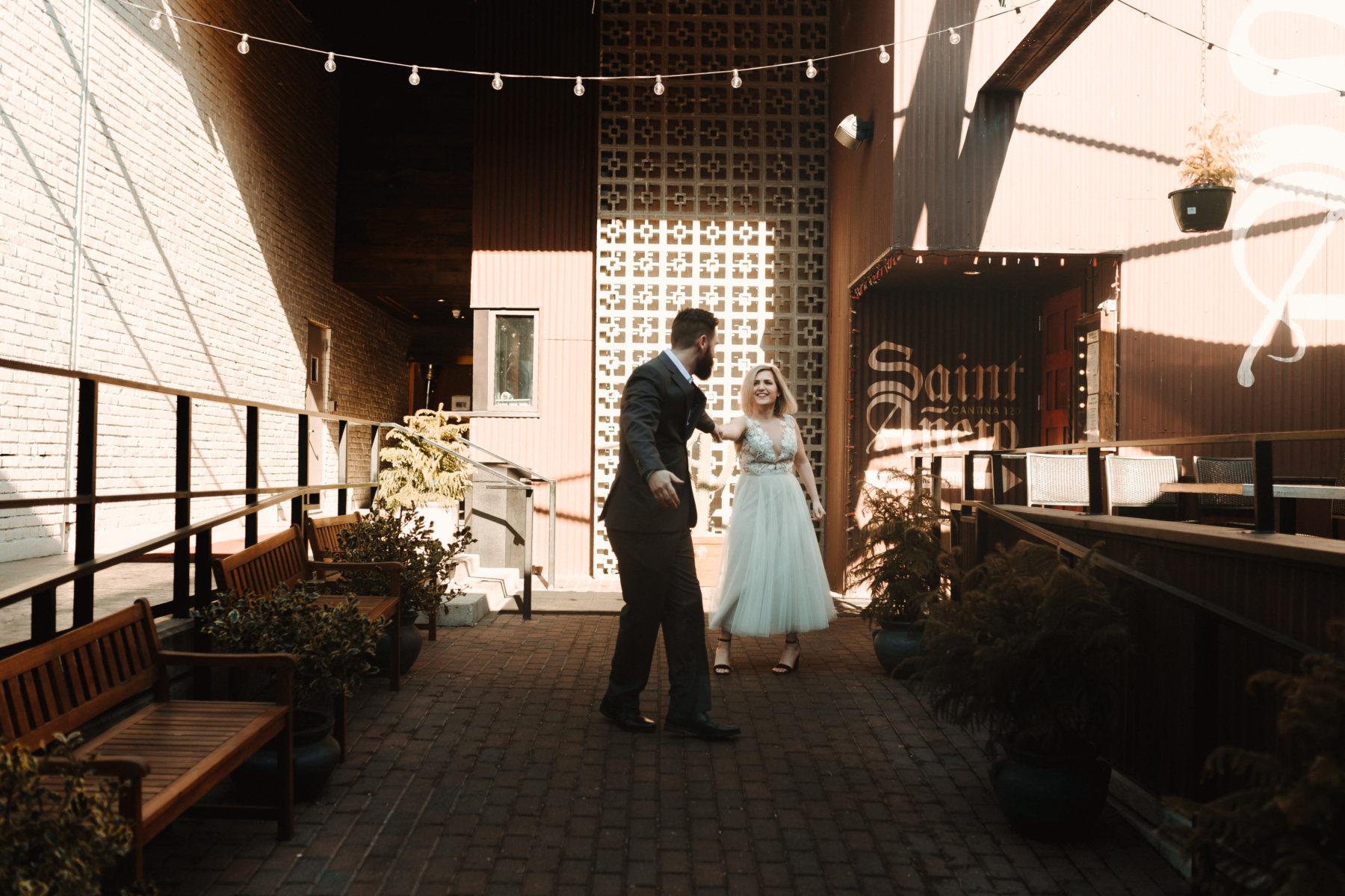 Dancing wedding photos: Nashville brunch elopement featured on Nashville Bride Guide