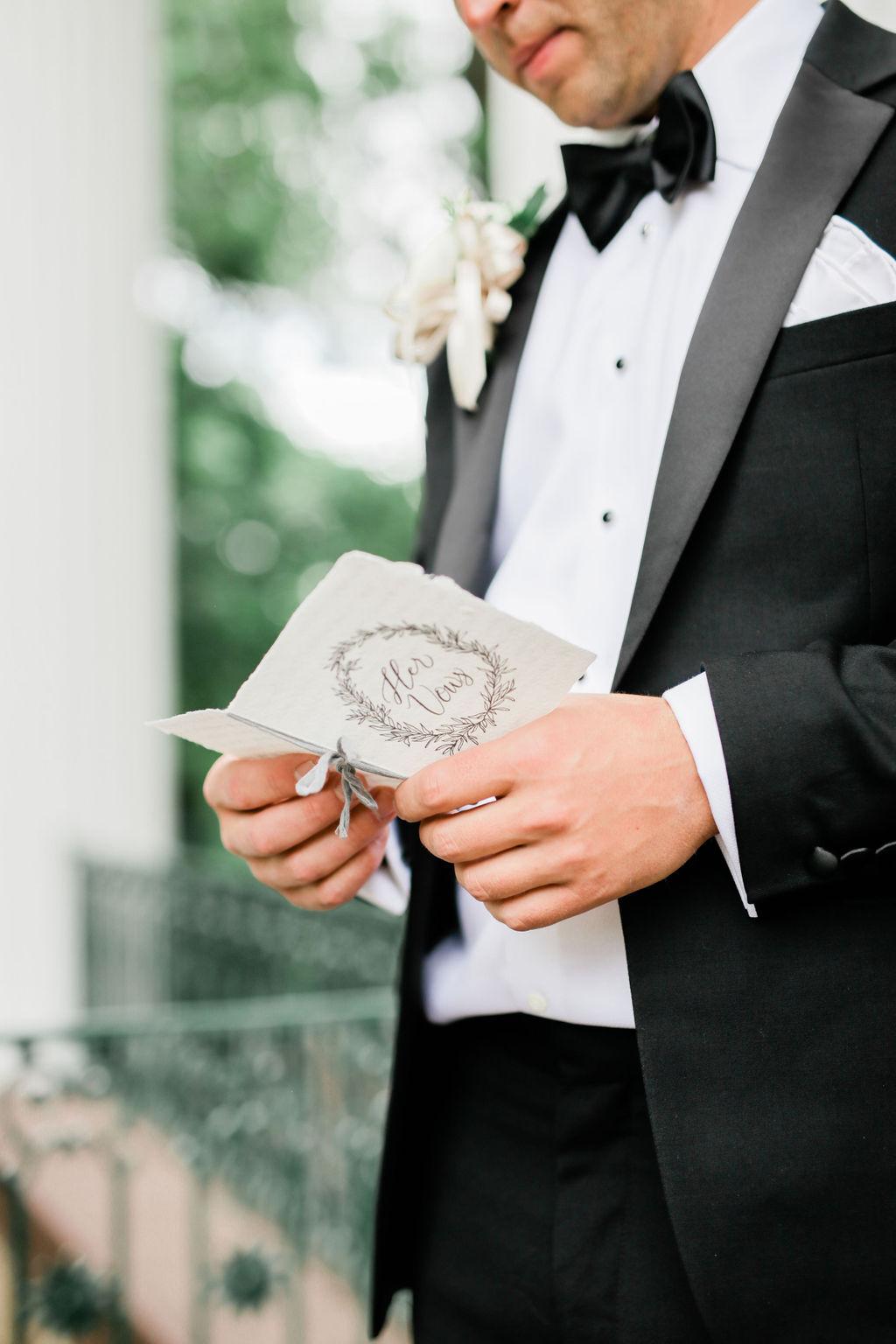 Wedding vow book design for elegant Nashville wedding