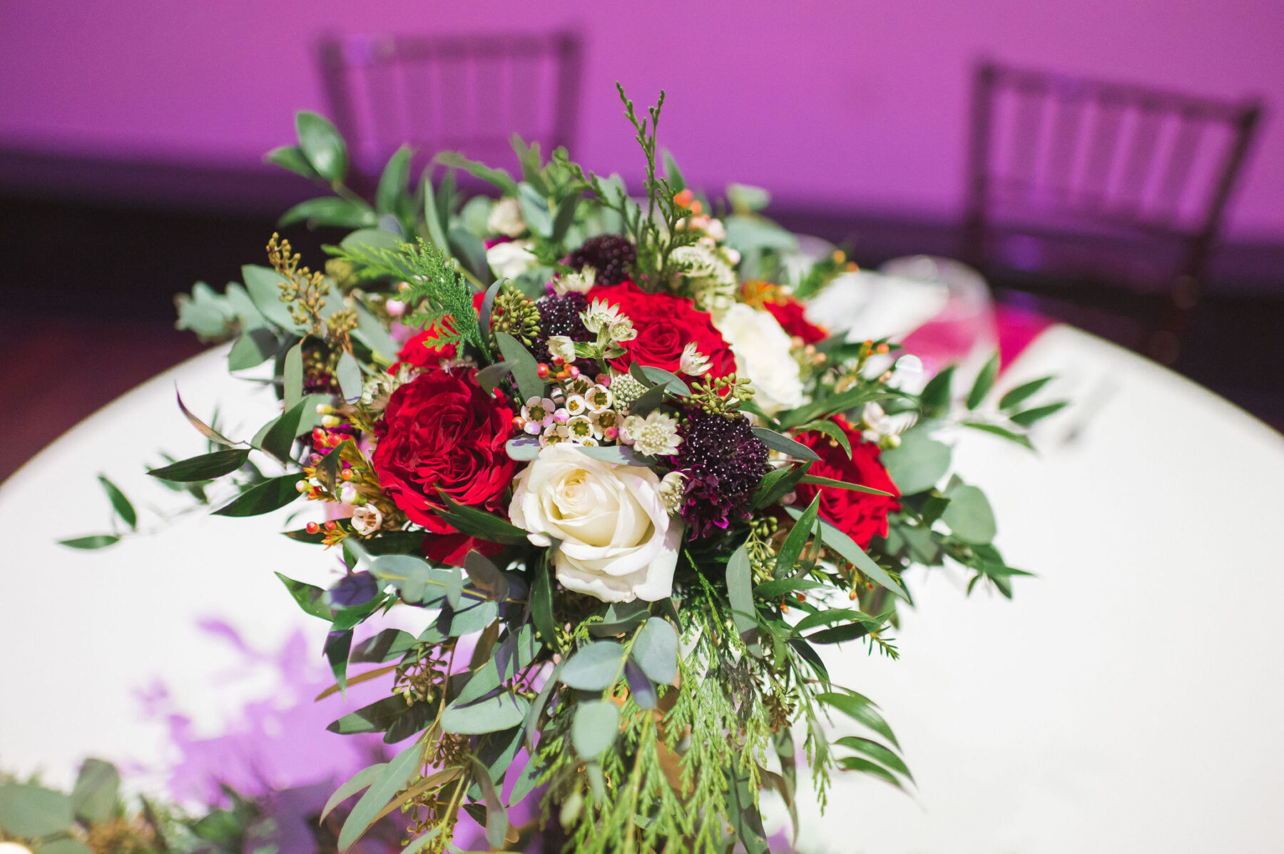 Red and white wedding flowers: Classic Winter Wedding by Details Nashville