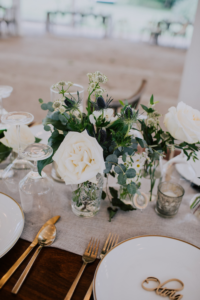 White and greenery wedding centerpieces: Summer Soiree at Cedarwood Weddings featured on Nashville Bride Guide