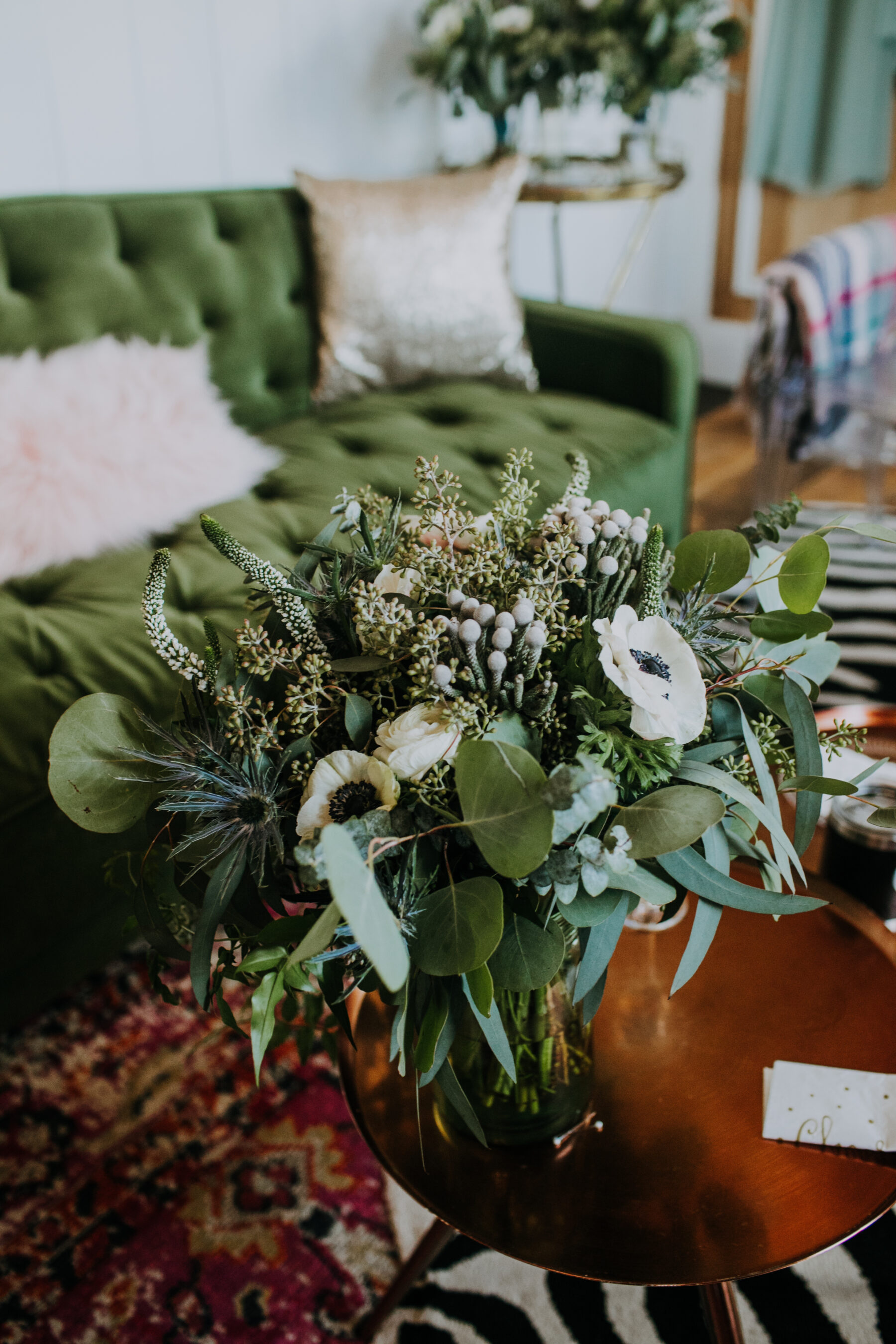 White and greenery wedding bouquet: Nashville Wedding with Beautiful Views by Teale Photography featured on Nashville Bride Guide
