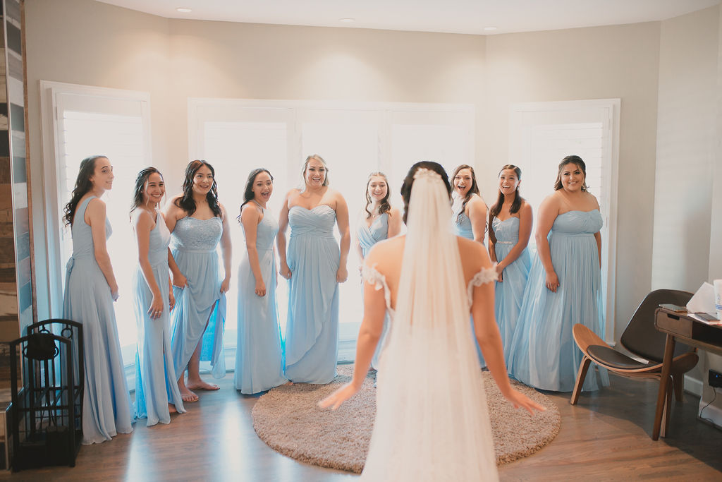 Bridal party first look: Romantic Outdoor Wedding at Reunion Stay